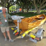 Philip Meaney with his hand built row boat